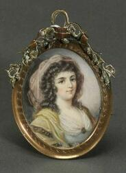Continental Miniature Portrait on Ivory of a Lady