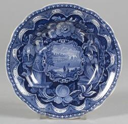 Historic Blue Transfer Decorated Staffordshire Pottery Soup Plate