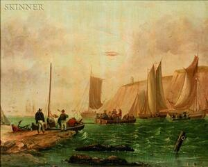 British School, 19th Century    Fisherman and Sailing Ships Off the Dover Coast