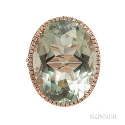 14kt Rose Gold, Green Amethyst, and Diamond Ring