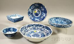 Five Japanese Blue and White Floral-decorated Porcelain Bowls