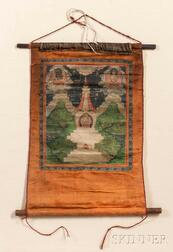 Thangka Hanging Scroll Depicting a Triad of Amitayus
