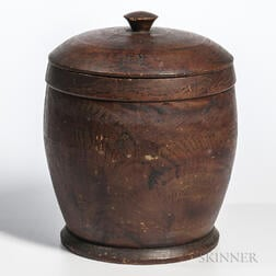 Large Turned and Putty-painted Cannister