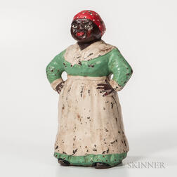 Large Painted Hubley Cast Iron Mammy Doorstop