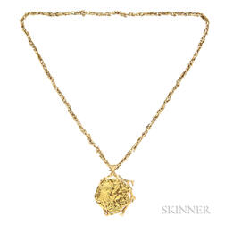High-karat and 18kt Gold Pendant and Chain, Salvador Dali