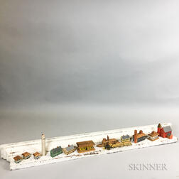 Fourteen Carved Toy Buildings and Locomotives and a White-painted Pine Hanging Wall Shelf.     Estimate $200-250