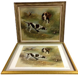 Framed Oil on Canvas Portrait of a Hunting Dog