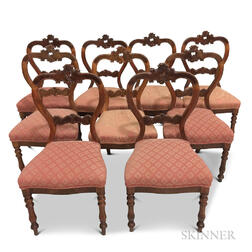 Set of Nine Rococo Revival Carved Fruitwood Chairs