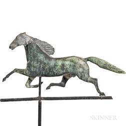 Molded Sheet Copper and Cast Zinc Running Horse Weathervane