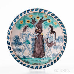 Polychrome Decorated Adam and Eve Charger