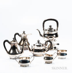Seven-piece Gebelein Sterling Silver Tea and Coffee Service