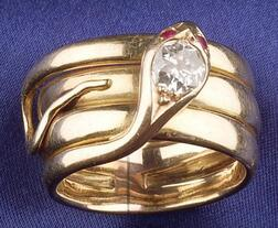 14kt Gold and Diamond Snake Ring
