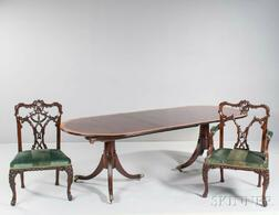 Georgian Mahogany Dining Table with Seven Chairs