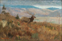 Edwin Willard Deming (American, 1860-1942)      Elk in Grassy Highlands, Autumn