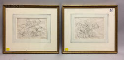 School of Luca Giordano (Italian, 1634-1705)      Two Framed Drawings of Putti with a Goat
