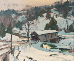 Emile Albert Gruppé (American, 1896-1978)      Covered Bridge, Winter