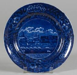 Historic Blue Transfer Decorated Staffordshire Pottery Dinner Plate