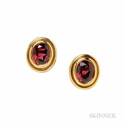 18kt Gold and Garnet Earrings, Bulgari
