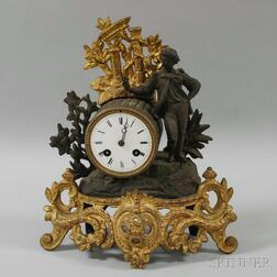 Gilt and Patinated Spelter Figural Clock