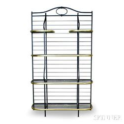 Wrought Iron and Brass Four-tier Baker's Rack