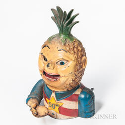 "Polychrome Cast Iron ""Penny Pineapple"" Mechanical Bank"