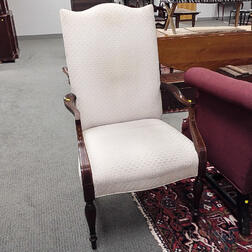 Two Federal-style Inlaid Mahogany and Chippendale-style Carved Mahogany Lolling Chairs