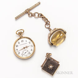 14kt Gold Pocket Watch, 10kt Gold and Diamond Locket, and a 9kt Gold and Citrine Fob