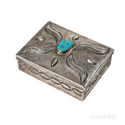 Navajo Silver Box with Turquoise Setting