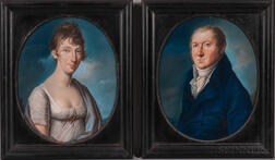 Continental School, Early 19th Century      Pair of Pendant Portraits of a Gentleman and a Lady