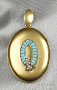 Antique 14kt Gold and Turquoise Locket