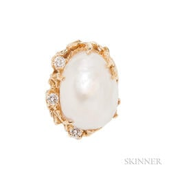 18kt Gold, Baroque South Sea Pearl, and Diamond Ring, Arthur King