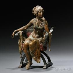 Austrian School, Late 19th/Early 20th Century,       Cold-painted Bronze Figure of a Seated Exotic Dancer
