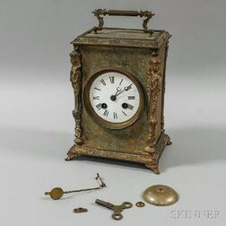 Large French Engraved Brass Carriage Clock