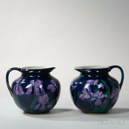 Pair of George Jones Imperial Amethyst Design Earthenware Pitchers