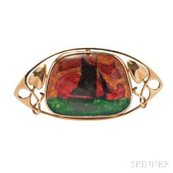 Arts and Crafts 15kt Gold and Enamel Brooch, Murrle, Bennett & Co.