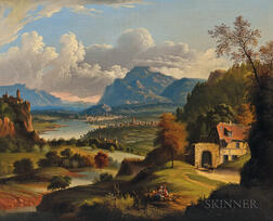 Attributed to Michele Felice Cornè (Italian/American, 1752-1845)      Idyllic Landscape with Lake, Castle, and Distant Town