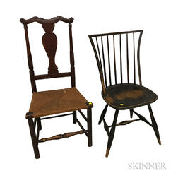 Black-painted Rod-back Windsor Side Chair and a Red-stained Maple Side Chair