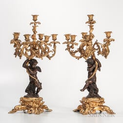 Pair of Gilded and Patinated Bronze Seven-light Candelabra