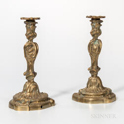 Pair of Rococo Revival Gilt-brass Candlesticks