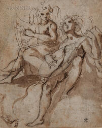 Attributed to Prospero Fontana (Italian, 1512-1597)      Two Music-making Angels
