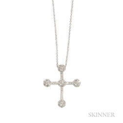 18kt White Gold and Diamond Cross and Chain, Pasquale Bruni