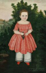 Susan C. Waters (American, 1823-1900) Portrait of Ann Eliza Collins Aged 2 Years, 1845, in a Landscape Holding a Cluster of Grapes. Sig