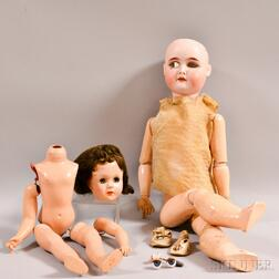 German Bisque Head Doll and a Composition Doll