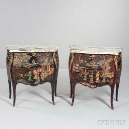Pair of Louis XV-style Marble-top Japanned Commodes
