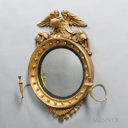 Carved and Gilt-gesso Girandole Mirror