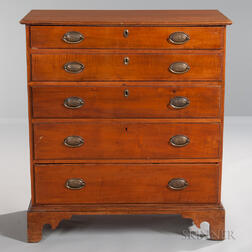 Tiger Maple Chest of Five Drawers