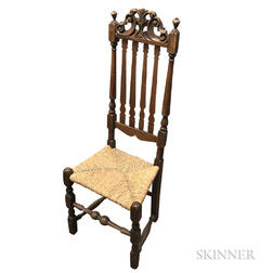 Carved and Turned Maple Bannister-back Side Chair