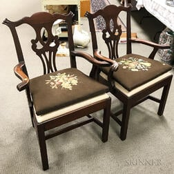 Pair of Chippendale-style Carved Mahogany Armchairs