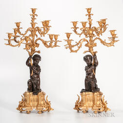Pair of Gilded and Patinated Bronze Nine-light Candelabra