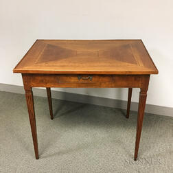 Continental Neoclassical Walnut and Fruitwood Parquetry One-drawer Writing Table